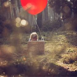 In een mooie luchtballon