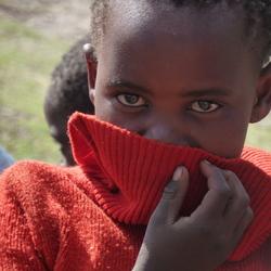 Verlegen meisje in Leshotho