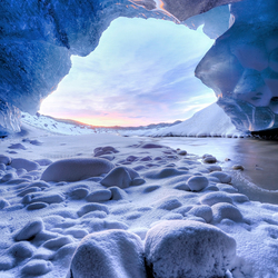 Icecave sunset