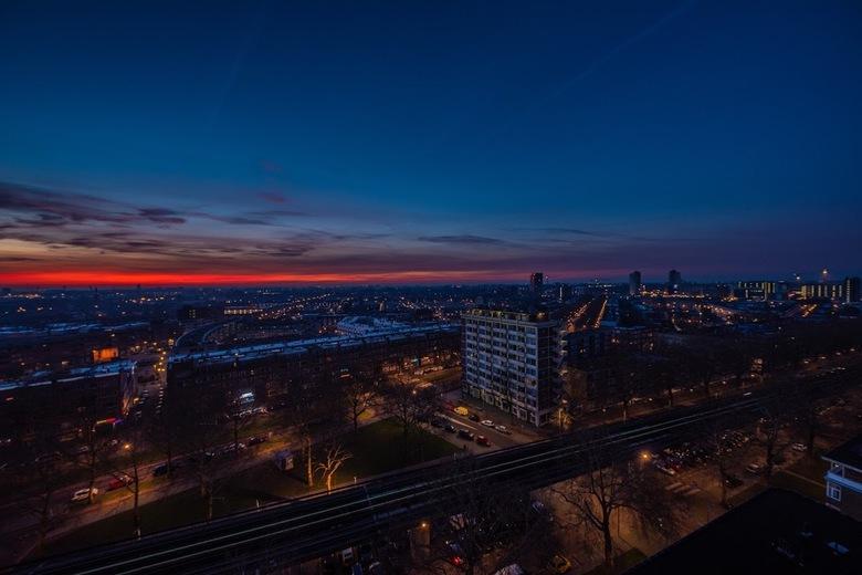 Rotterdam bij zonsopkomst - Zonsopkomst boven Feyenoord Rotterdam