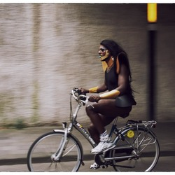 Colourfull bicyclist