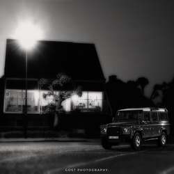 Jeep Defender at night.
