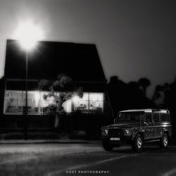 Jeep Defender at night.