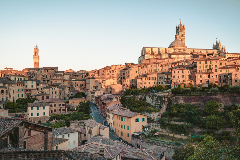 Cityscape of Siena - Cityscape of Siena, a beautiful medieval town in Tuscany, with view of the Dome Bell Tower of Siena Cathedral (Duomo di Siena), l