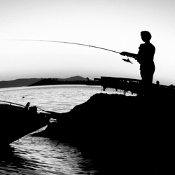Father & son fishing.