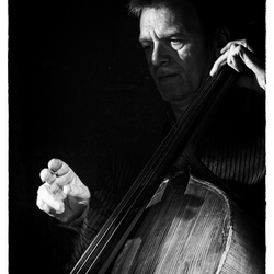 Playing the cello.