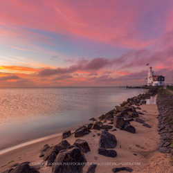 Sunrise by the lighthouse of Marken
