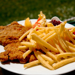 Wienerschnitzel met friet in Oostenrijk