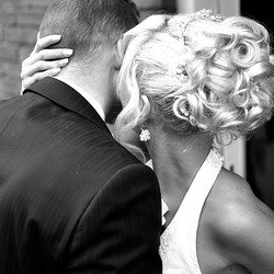 bruidspaar in zwart/wit