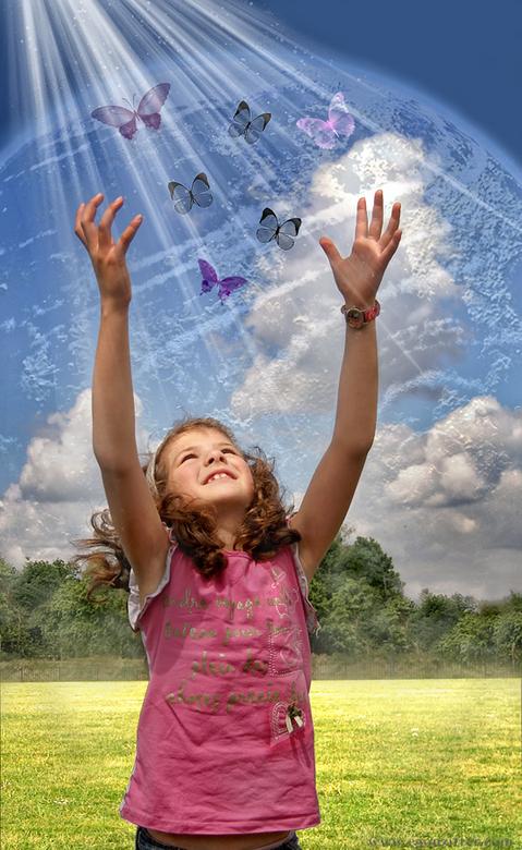 save our planet.jpg - fotobewerking van een foto van mijn dochter uit 2008
