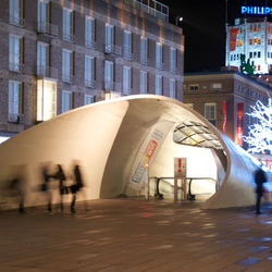 Eindhoven cycle tunnel by night