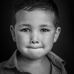B&W portret van mijn zoon