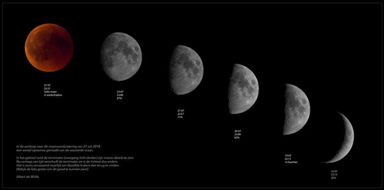 Maansverduistering 27-07 - In de aanloop naar de maansverduistering van 27-07 een aantal opnames van de maan gemaakt en samengevoegd.<br /> Veel kijk