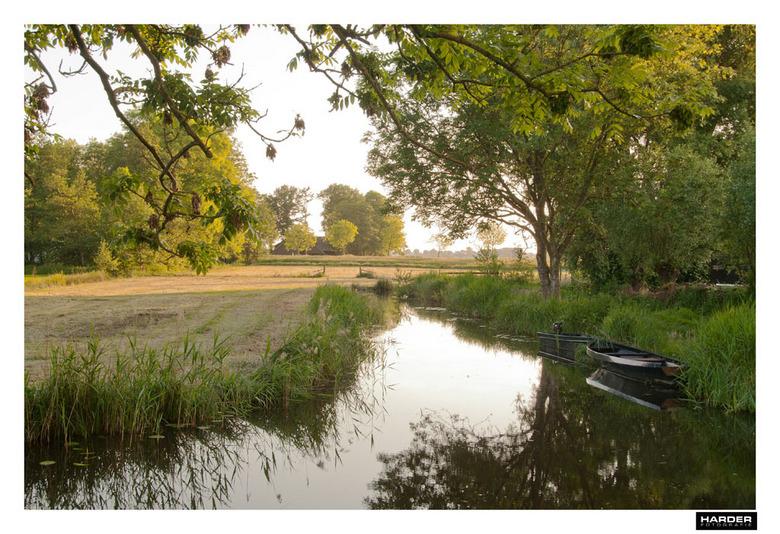 Giethoorn - De avondzon schijnt mooi over het land bij Giethoorn.