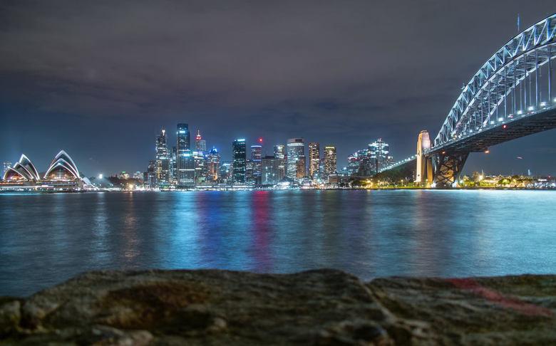 Skyline Sydney - Na een lange dag Sydney s'avonds genieten van de mooie skyline. Wat een gave stad!