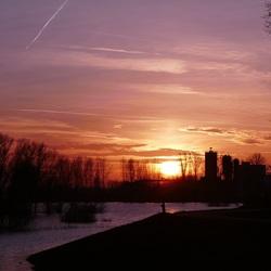Hoog water uiterwaarden Rijn vanaf Grebbedijk Wageningen, Di. 30-1- 2018.