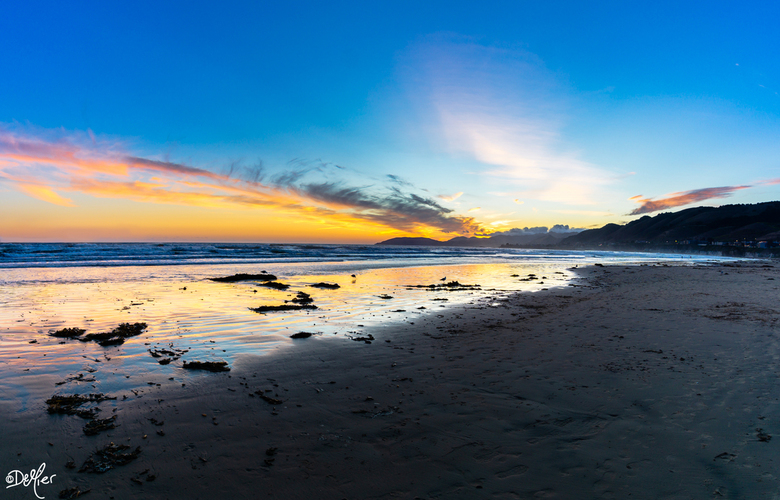 Pismo Beach Shore - Zonsondergang bij Pismo Beach California
