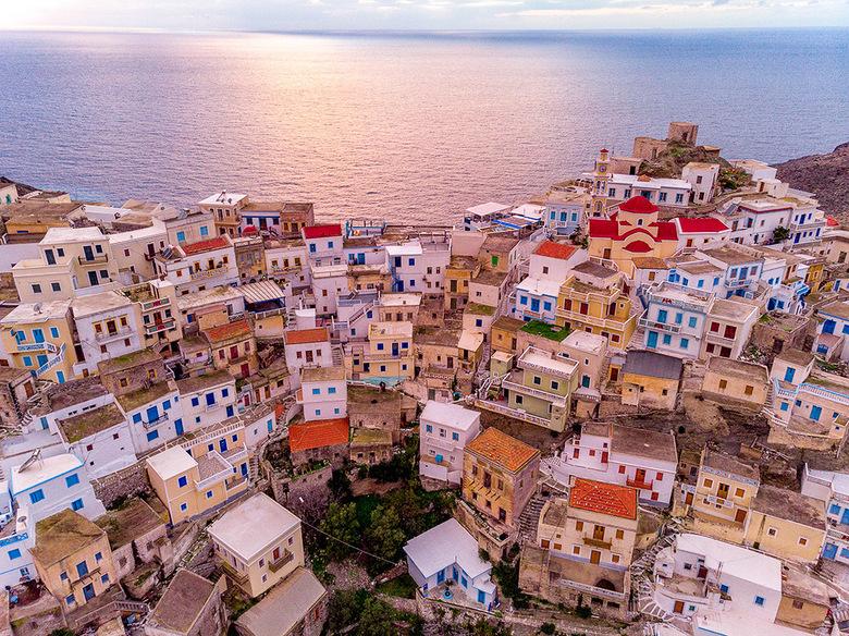 Grieks dorp - Luchtfoto van Olympos, het mooiste dorp van Karpathos
