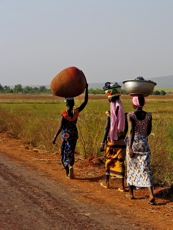 Banfora - Zondag is altijd een levendige markt in Banfora (Zuid-West Burkina Faso). Na de markt wandelen de Burkinabe terug naar hun huis. Soms met he