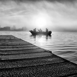 Fishermen on a misty Zaan.