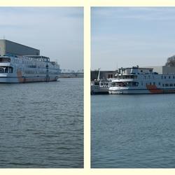 Riviercruise boten wachtend op het vaarseizoen.