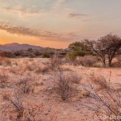 Zonsondergang in Namibië