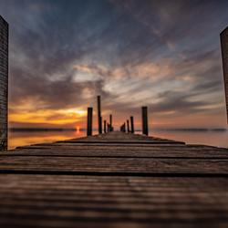 zonsondergang/steiger