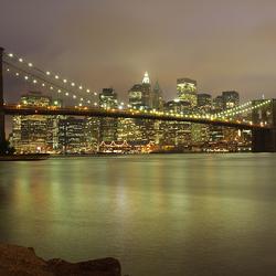 New York Skyline met een lange sluitertijd.