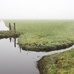 Amsterdam landelijk Noord in de mist
