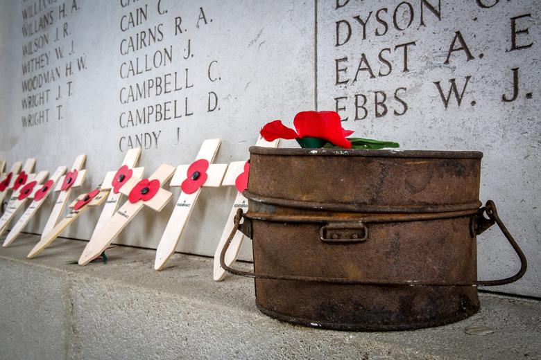 The Great War remembered - Deze foto werd genomen onder de Menenpoort te Ieper (België), ter nagedachtenis van 100 jaar van de grote oorlog (1914-1918