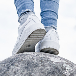Standing on a globe