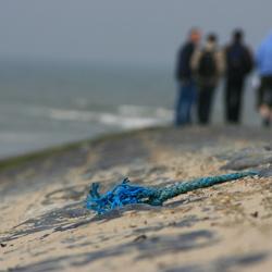 blauw koord aan de grijze zee