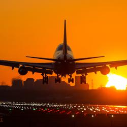 Landing KLM 747 while sun is rising