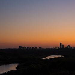 Skyline Scheveningen bij zon'sondergang