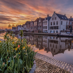 Sky on fire at the Turfmarkt Dokkum