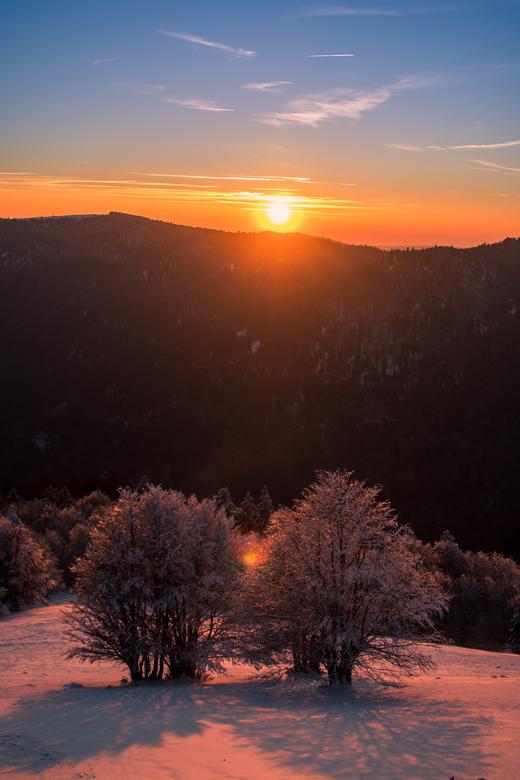 Zonsondergang Vogezen, Frankrijk - Drie dagen gehiked en overnacht in de Franse Vogezen, super koud maar heel vet!