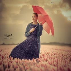 Girl and tulips