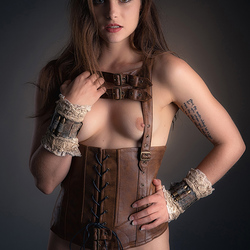 leather camisole and cuffs