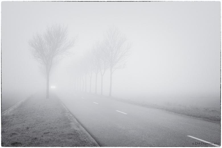 auto in de mist