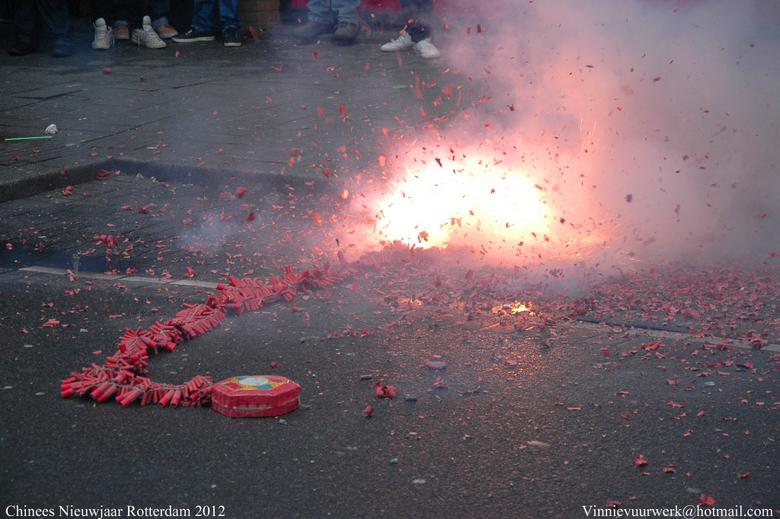 chinees nieuwjaar - vuurwerk tijdens chinees nieuwjaar in Rotterdam.