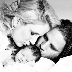 Parents meet their first born..