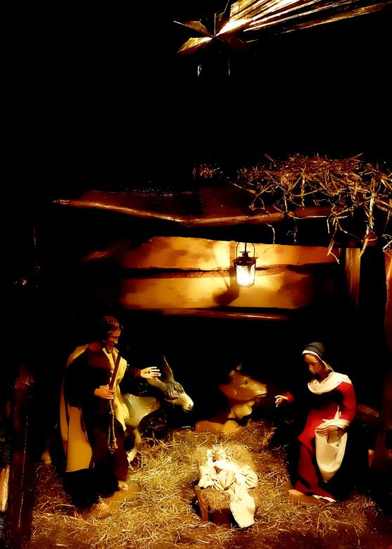 Kerststal - Een deel van de kerststal in een kerkje aan de Kalverstraat.