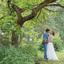Bruidpaar in het groen