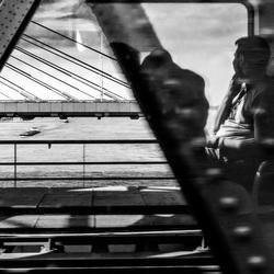 Mirror trainpassenger looks at.....