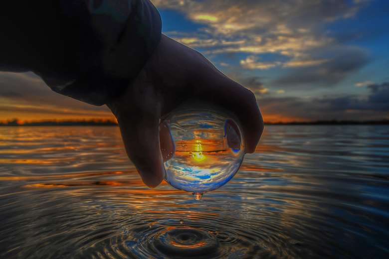 Sunset throuh the sphere  -