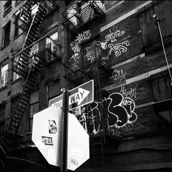 Alley stairs BW