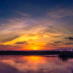 Winter zonsondergang Kinderdijk