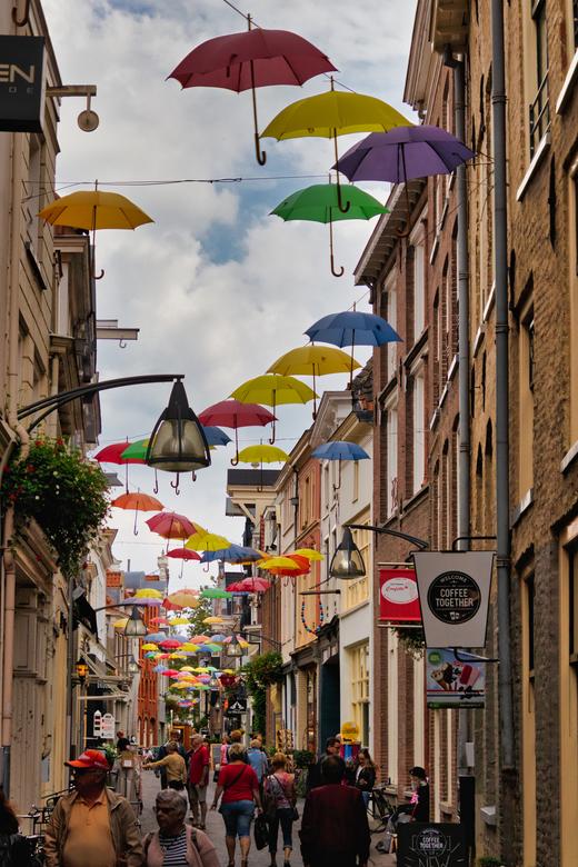 Vrolijke straat Deventer -