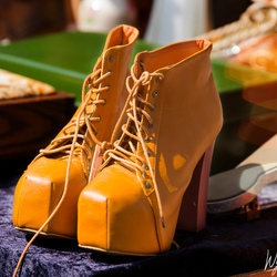 The yellow dance shoes