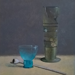 Glas oude schans geschilderd naar idee van Henk Helmantel